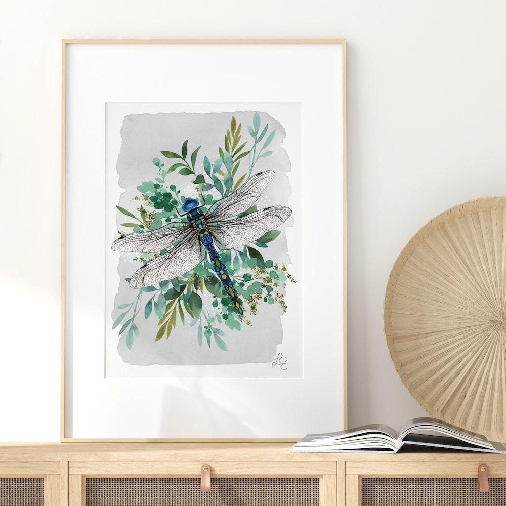Laura Elizabeth Illustrations Dragonfly Fine Art Print