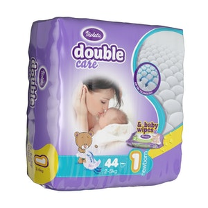 VIOLETA DOUBLE CARE 2-5KG NAPPIES NEWBORN PACK OF 44 WITH FREE BABY WIPES