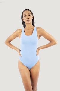 1 People Santorini Crisscross One-Piece Swimsuit in Baby Blue Ocean Spray