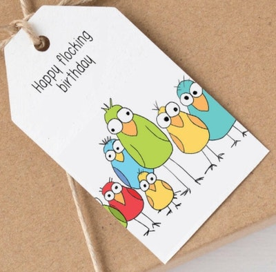SOUL Self Care  Pleasant Tree Designer Gift Tags - HAPPY FLOCKING BIRTHDAY 2021