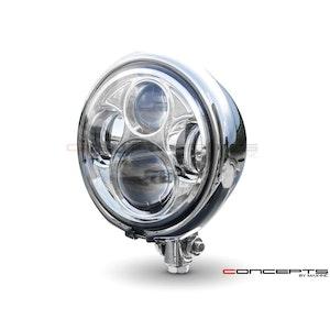 "5.75"" Bates Style LED Chrome Metal Bottom Mount Headlight"