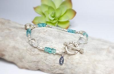 Uniqu-Lea Yours Natural Blue Apatite, Clear Quartz and Hill Tribe Silver Bracelet