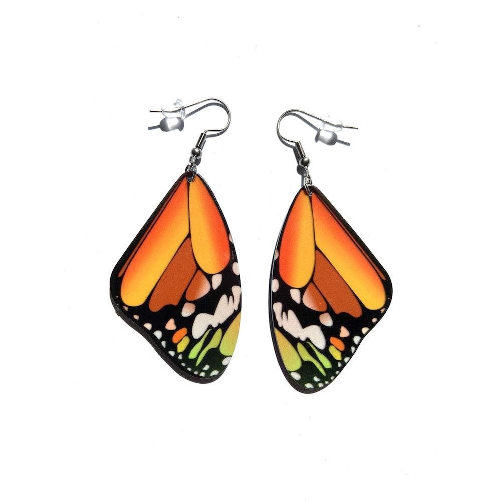 One of a Kind Club Orange Medium Butterfly Earrings