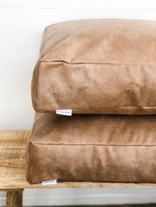 Floor Cushion Cover - Camel Vegan Leather with Flange