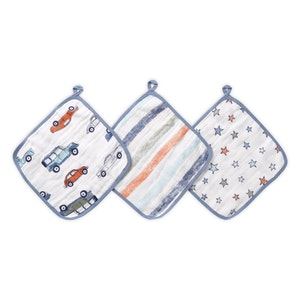 aden hit the road muslin washcloths 3-pack