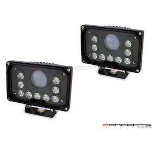 Pair Rectangle LED Bottom Mount Headlights