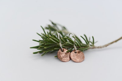 Sarah Munnings Jewellery Workshop at home 1 Hammered Copper Earrings - option to upgrade to Sterling Silver
