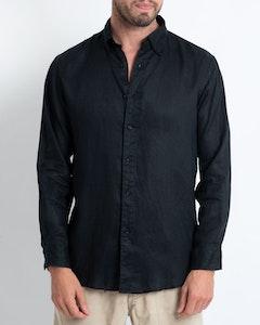 DESTii Black Long Sleeve Linen Shirt