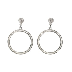Minimalistic Filigree Zig Zag Circles Earrings