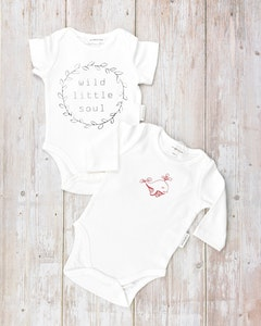 Certified Organic Cotton Bodysuits Value Pack -  Wild Little Soul with Long Sleeve Little Dolphin