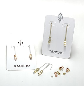 Spacer Beads on Silver Straight Hook Earrings