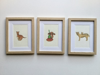 Art'N Green Trio of framed whimsical Tasmanian animals - oak like frames 4x6''