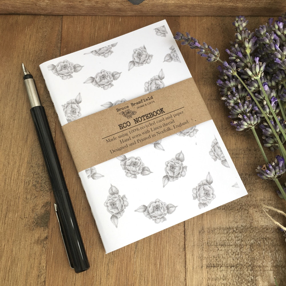 Bruce Bramfield Roses Eco Notebook (white Cover)