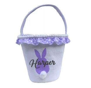 Personalised Bunny Tail Basket - Purple