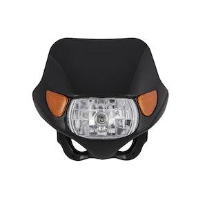 Halogen Motocross Headlight with Indicators - Black