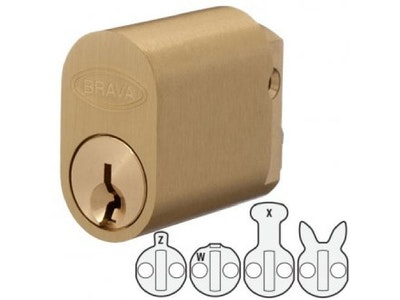 Brava 570 Style Oval Lock Cylinder to Suit Lockwood, Legge and Dorma Mortice Locks 5070UPBKD