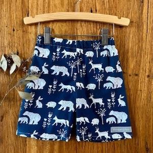 shorts - navy woodland animals / unisex baby toddler child / organic cotton
