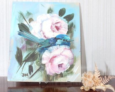 Sunbirds Design Original Small Acrylic Painting - Wrens and Roses No.25
