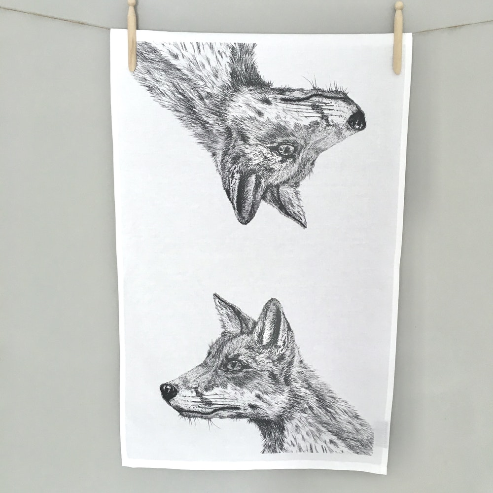 Bruce Bramfield Fox Organic Cotton Tea Towel