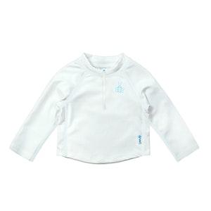 i play. Long Sleeve Zip Rashguard Shirt-White