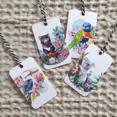 Watercolour by Cat Recycled Animals Gift Tags ( Set of 4 )
