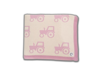 100% PURE Australian Merino Leroy Mac Designs Pink Tractor Blanket/Throw