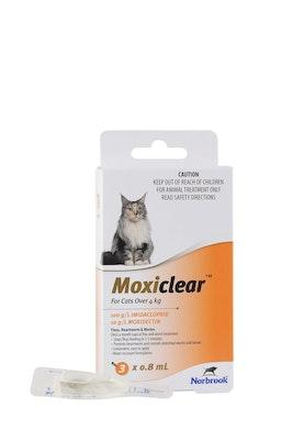 MOXICLEAR Flea & Worming Spot Treatment >4kg Cat 3 Pack