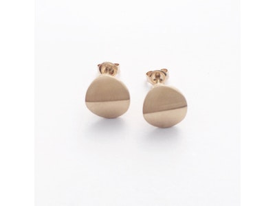 Yellow Gold round bent earrings