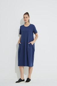 Tirelli - Short Sleeve Diagonal Dress - Deep Navy