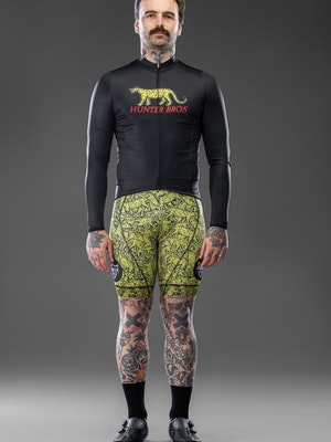 Hunter Bros Cycling Leopard Print Long Sleeve Race Fit Jersey
