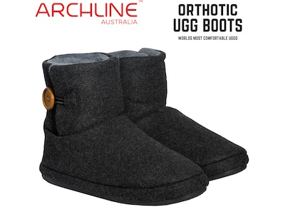 Boutique Medical Archline Orthotic Ugg Boots Slippers Snugg Arch Support Warm Mini Button - Charcoal