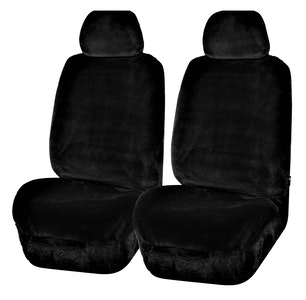Universal Finesse Faux Fur Front Seat Covers Size 30/35 | Black