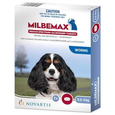 Milbemax Allwormer <5kg Dog 2 Pack