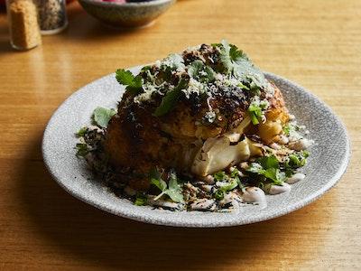 Miso Baked Cauliflower w/ Walnut Puree & Yuzukoshu, Serves 2
