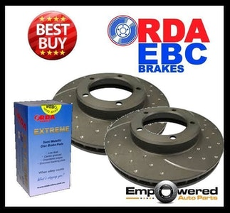 DIMPLED SLOTTED FRONT DISC BRAKE ROTORS+BRAKE PADS for Holden Adventura 2003 on