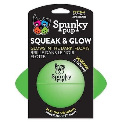 Spunky Pup Squeak & Glow Dog Toy Football 14cm