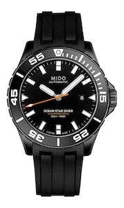 Mido Ocean Star Diver 600 - Black DLC - Black Rubber Strap