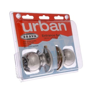 Brava Urban BRT3300DP series domestic grade entrance knob set in polished stainless steel finish