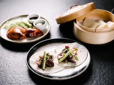 Peking Duck, pancakes, plum sauce, fresh cucumber & leek 6pc