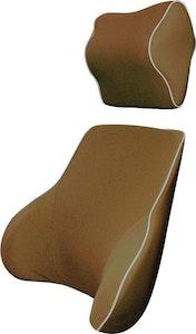 Memory Foam Lumbar Back & Neck Pillow Support Cushion | Mocha
