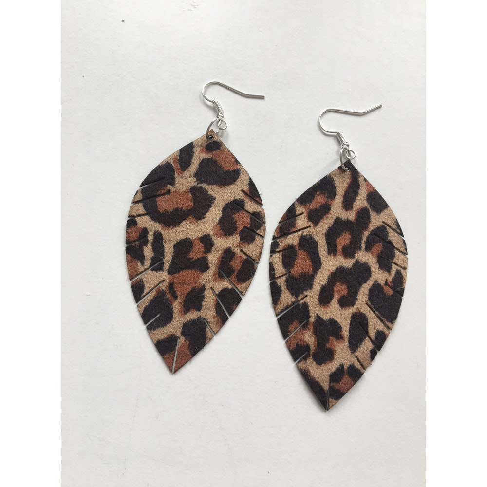 One of a Kind Club Animal Print Leatherette Leaf Earrings