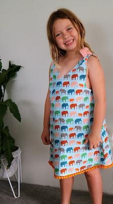 Handgrown Threads Dress - Size 2 -  Colourful Dotty Elephants