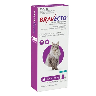 BRAVECTO Spot On 6.25-12.5kg Cat 6 Month Pack
