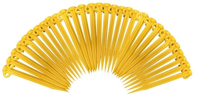 Pack of 30x Plastic Supa Tent Pegs 300mm Yellow High impact grade