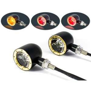 Classic LED Stop/Tail/Indicator Lights - Black & Brass