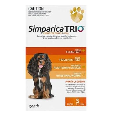 SIMPARICA Trio Flea & Tick Control for Small Dogs 5.1-10kg Orange - 2 Sizes