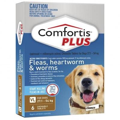 COMFORTIS PLUS Brown Flea & Worming Tablets 27.1-54kg Dog 6 Pack