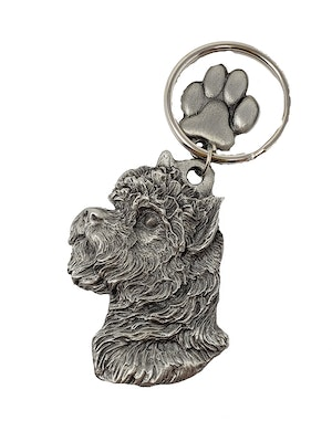 Key Companions Solid Fine Pewter Cairn Terrier dog with Paw Keychain