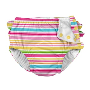 i play. Mix & Match Ruffle Snap Reusable Absorbent Swimsuit Diaper-Pink Multistripe
