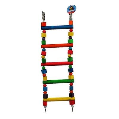 Cheeky Bird Large Parrot 5 Step Ladder Wooden Bird Toy